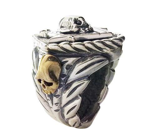 anel maçom folhas de acácia, esquadro, compasso e caveira
