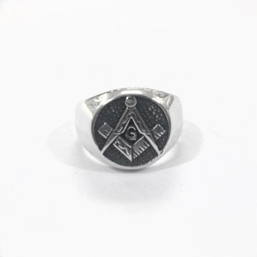 anel maçon prata 950 redondo masculino g 7