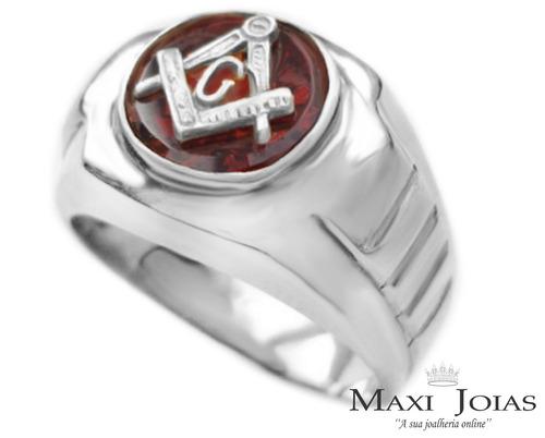 anel maçonaria pedra vermelha prata 950 modelo masculino