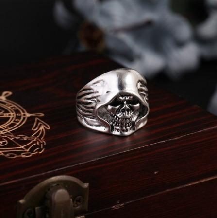 anel masculino aço caveira