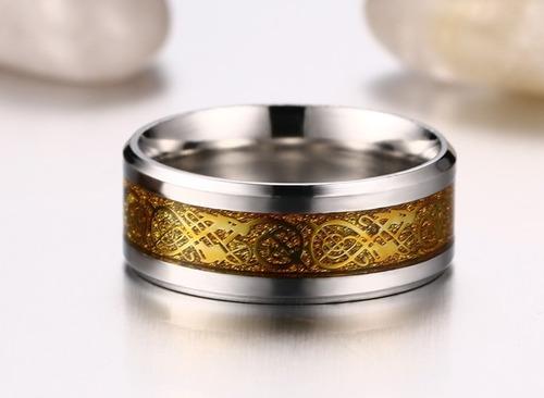 anel masculino aço cirúrgico desenho de dragão
