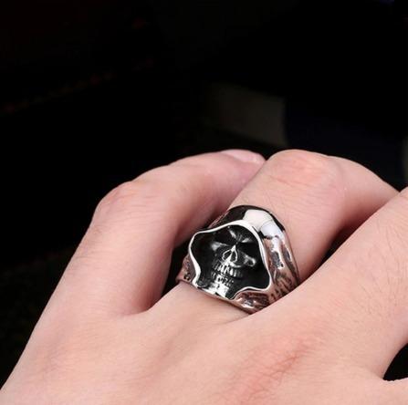 anel masculino aço inox caveira vintage peça exclusiva luxo