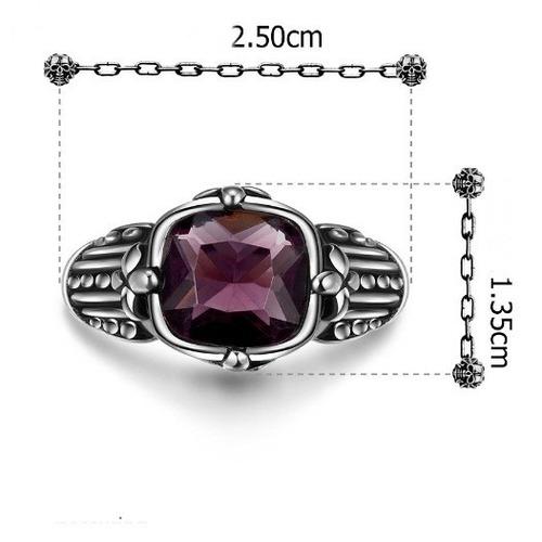anel masculino aço titânio pedra ametista natural titanium