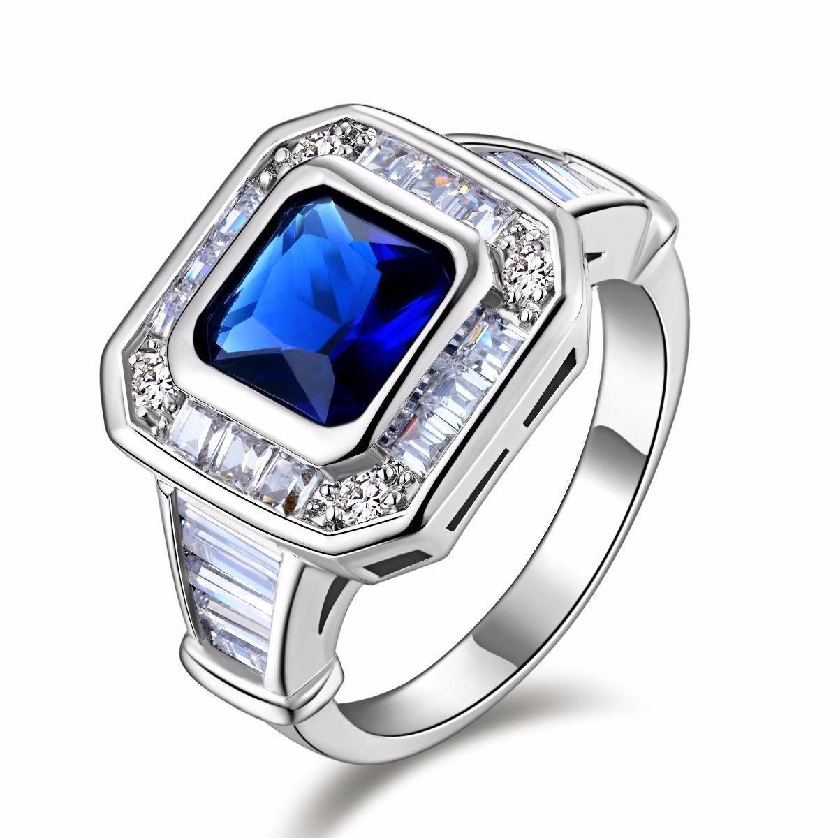anel masculino aro 23 folheado ouro branco safira azul 2524a. Carregando  zoom. f3dfbc1ce6