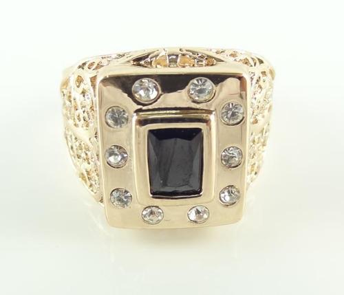 anel masculino aro 25 banhado ouro rose onix negra j1933