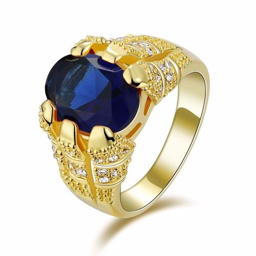 anel masculino aro 25 folheado em ouro pedra safira j2112a