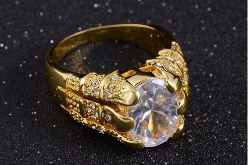 anel masculino aro 25 folheado em ouro quartzo branco j2114a