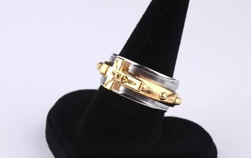 anel masculino aro 32 jesus crucifixo cruz aço inox - j1626r