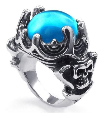 anel masculino  coroado c/zirconia azul, aço inox, aro 30