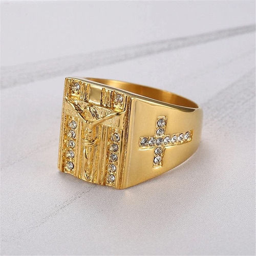 anel masculino cruz crucifixo titânio banhado a ouro 18k