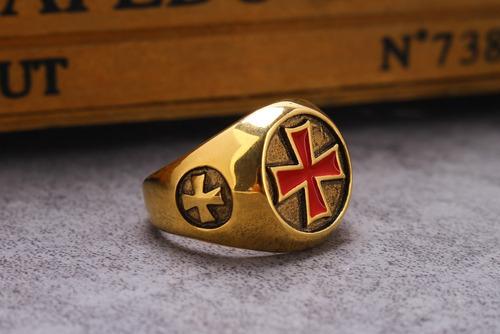 anel masculino cruz de malta banhado a ouro aço inoxidável