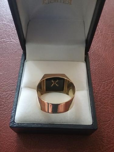 anel masculino de ouro 18k 750 com a letra m
