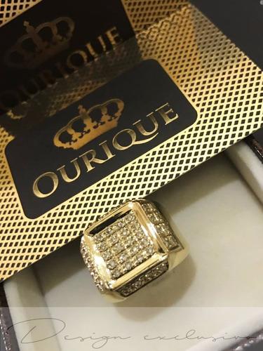 anel masculino de ouro 18k 750 com bordas e com diamantes