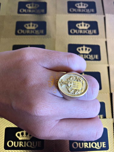 anel masculino de ouro 18k 750 com brasão máquina 3d