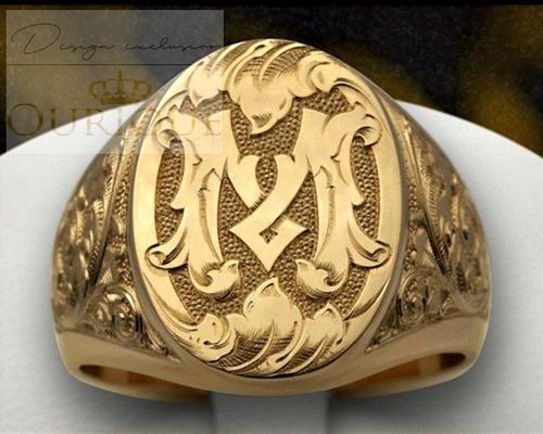 anel masculino de ouro 18k 750 com letra maquina 3d a vista