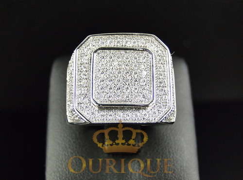 anel masculino de ouro 18k pavê de diamantes comendador