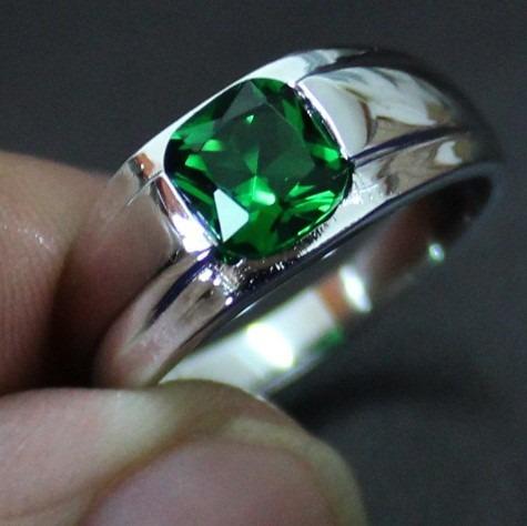 anel masculino elegante prata 925 pedra esmeralda natural