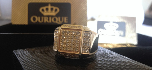 anel masculino em ouro 18k 750 com diamantes luxo