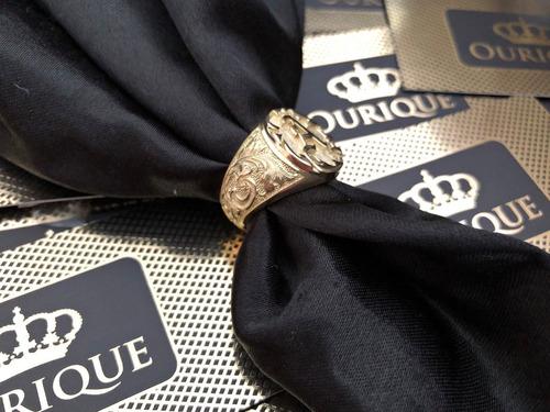 anel masculino em ouro 18k 750 com letra design máquina 3d