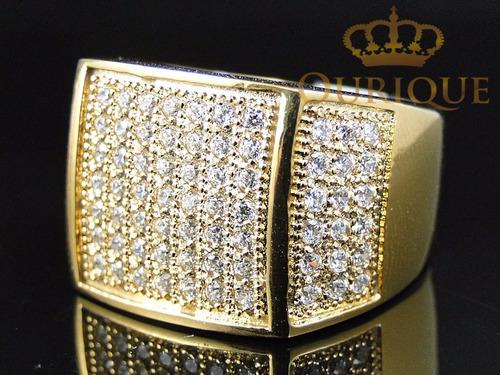 anel masculino em ouro 18k pavê de diamantes imperial