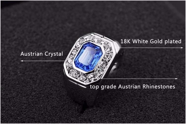 Anel Masculino Em Ouro Branco 18k Gold Plated E Safira Azul - R  189 ... 20e9a3fdd4
