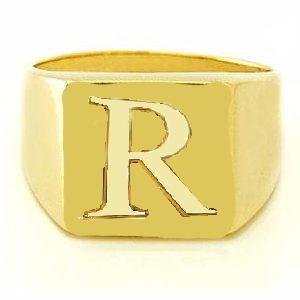 anel masculino em prata banhado ouro 18k com letra r