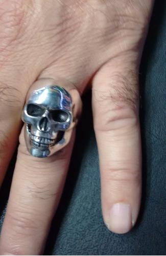 anel masculino em prata maciça 925 - crânio liso - perfeito