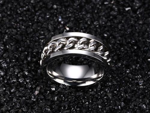 anel masculino feminino aço inox corrente giratória prata