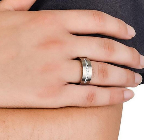 anel masculino feminino titânium cristal diamante dia 629 h