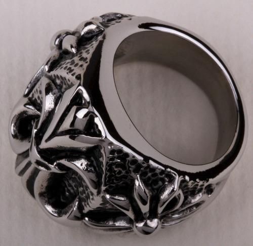 anel masculino  flor de liz martelado, aço inox aro 30