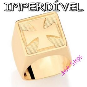 Anel Masculino Folheado Ouro Cruz De Malta Rommanel 511839