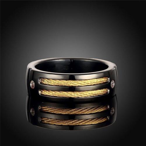 anel masculino homem aço titânio preto com 2 fios dourados