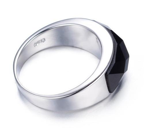 anel masculino homem banho prata pedra ágata comendador