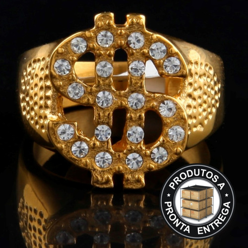 anel masculino inox ouro hip hop cravejada mc lxbr a188