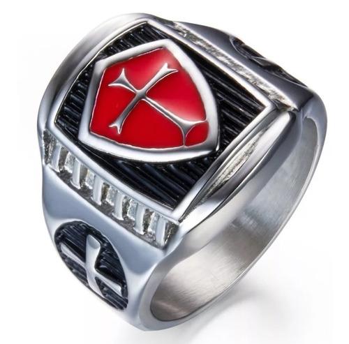 anel masculino maçonaria cruz vermelha vintage