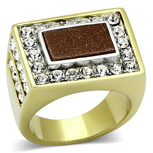 anel masculino marrom topazio folheado a ouro 18k luxo