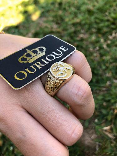 anel masculino ouro 18k 750 letra máquina 3d