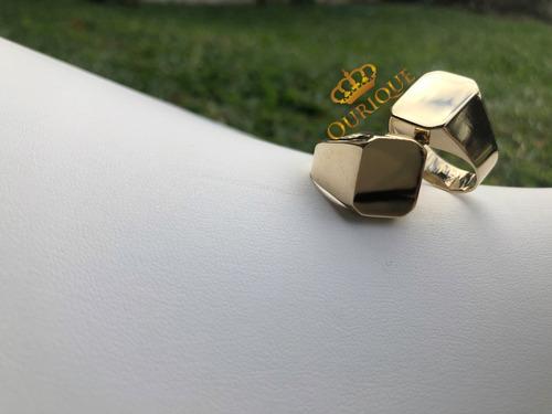 anel masculino ouro 18k 750 quadrado promoção