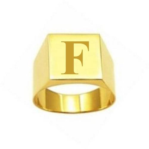 anel masculino ouro com letra