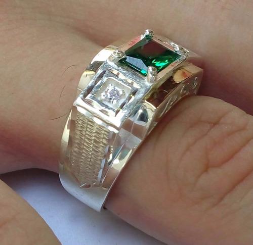 anel masculino  prata 950 e 2 apliques ouro 12k pedras cores