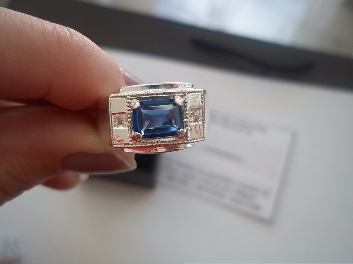 Anel Masculino Prata 950 Pedra Azul Quadrada - R  250,00 em Mercado ... 45e62093a8