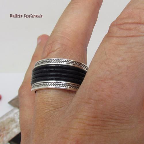 anel masculino prata 950k maciça quatro fios ojoalheiro