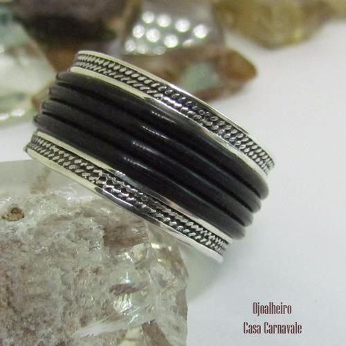 anel masculino prata 950k maciça tres fios ojoalheiro
