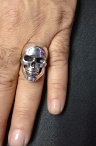 anel masculino prata caveira