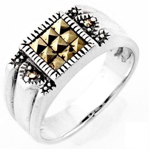 anel masculino prata pura maciça aro 27 marcassitas - j2027