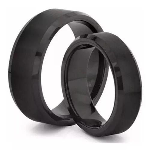anel masculino preto titânio escovado 8mm anatômico promoção