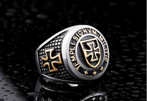 anel masculino templário aço
