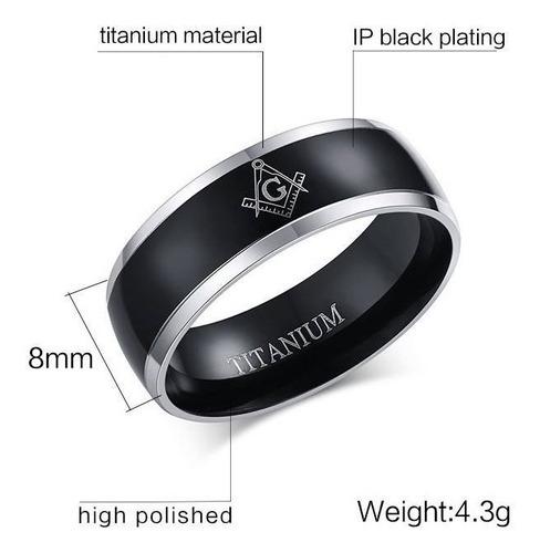 anel  masculino titânio preto maçônico maçom 8mm