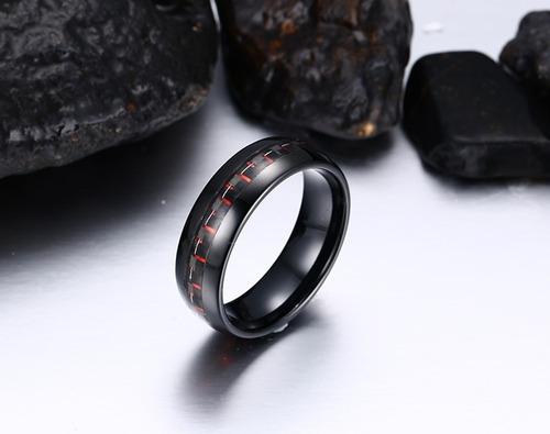 anel masculino tungstênio detalhe milimalista vermelho 8mm