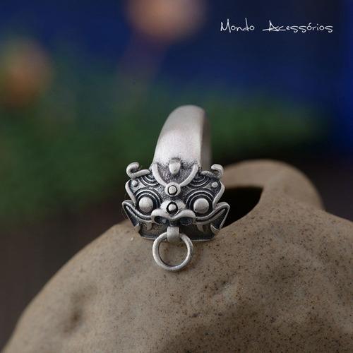 anel masculino unissex leão chinês em prata esterlina 925